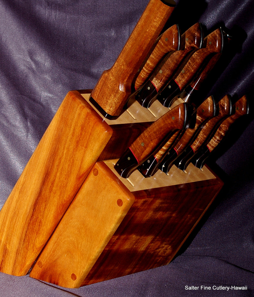 Custom 10-piece chef and steak knife set in koa wood and maple block stand using contrasting featured koa wood