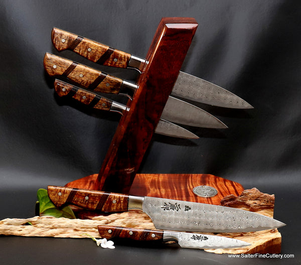 5-piece custom chef knife set in tower stand from Salter Fine Cutlery of Hawaii makers of luxury gifts for the home