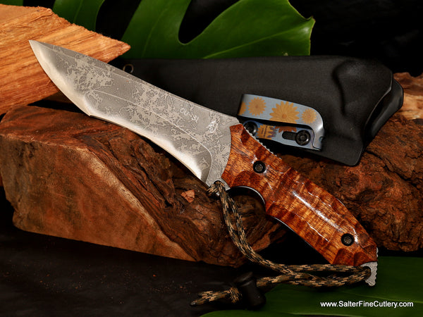 155mm collectible hunting knife Salter Kiku collaboration with scalloped koa wood handle by Gregg Salter of Salter Fine Cutlery Hawaii