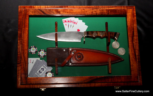 Display custom handmade curly koa wood shadow box by Salter Fine Cutlery