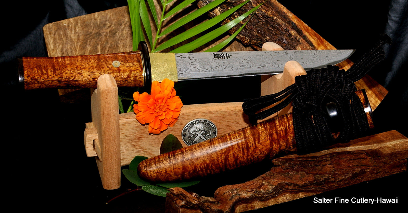 210mm Collectible custom hunting knife with Japanese style handle, sheath and work stand by Salter Fine Cutlery