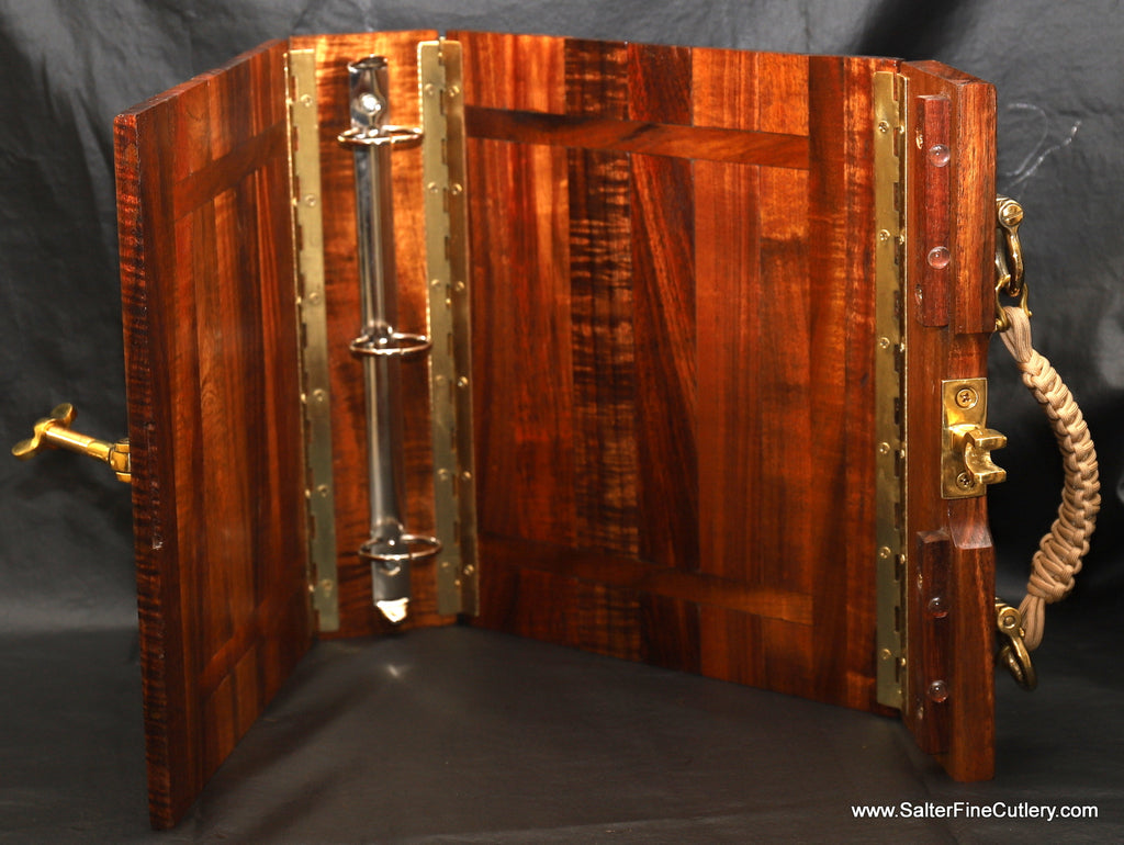 Custom weathered look nautical binder by Salter Fine Cutlery fine woodworking of Hawaii