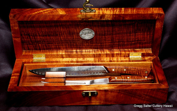 Hand forged custom carving set by Salter Fine Cutlery