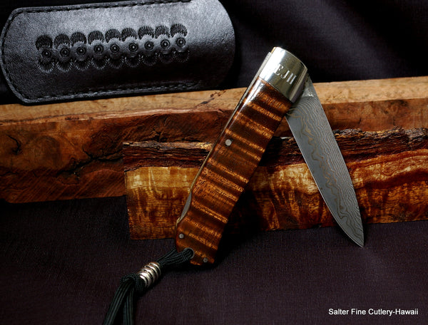 Custom Order Folding Knives: Salter-Ihara 3-inch Damascus Pocket Knife with Brass Liners