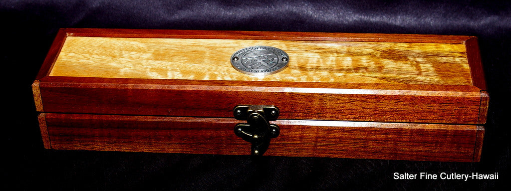 Small handcrafted koa wood gift box with corner accents