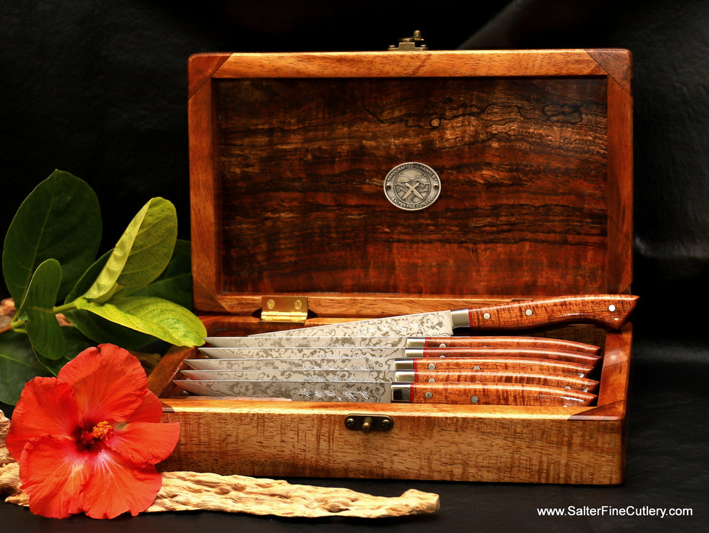 Handcrafted luxury small steak knife set in beautiful curly koa wood presentation box by Salter Fine Cutlery of Hawaii