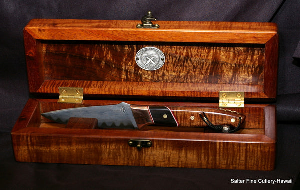 Unique handcrafted hunting knife with decorative handle in handcrafted Hawaiian exotic koa wood presentation box made by Gregg Salter of Salter Fine Cutlery