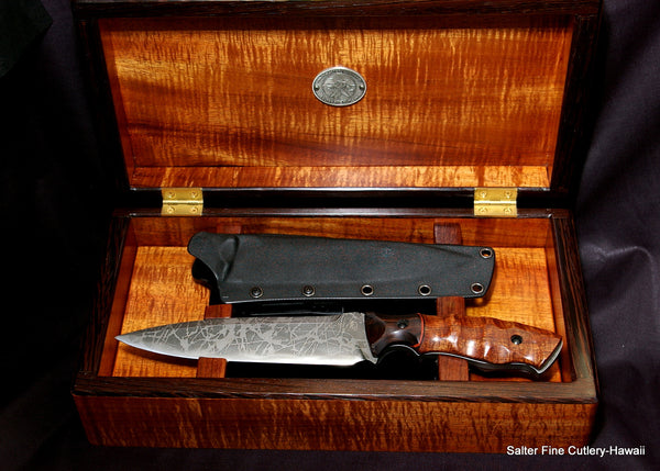The Hengist Collectible Tactical Knife in presentation box Salter and Kiku Matsuda collaboration knife