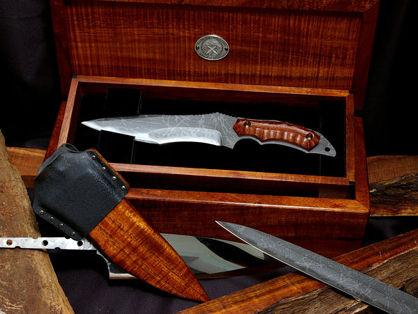 The Horsa Seax collectible tactical knife with unique wood and kydex scabbard and two-tier presentation box handcrafted by Salter Fine Cutlery and Kiku