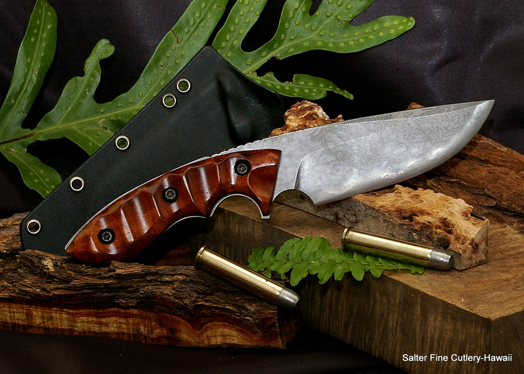 130mm hunting knife Salter Kiku collaboration from Salter Fine Cutlery of Hawaii