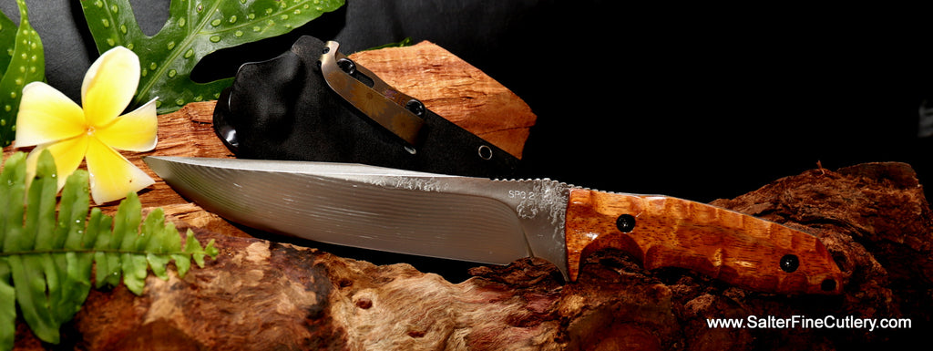 185mm stainless steel handmade hunting knife from Salter Fine Cutlery of Hawaii