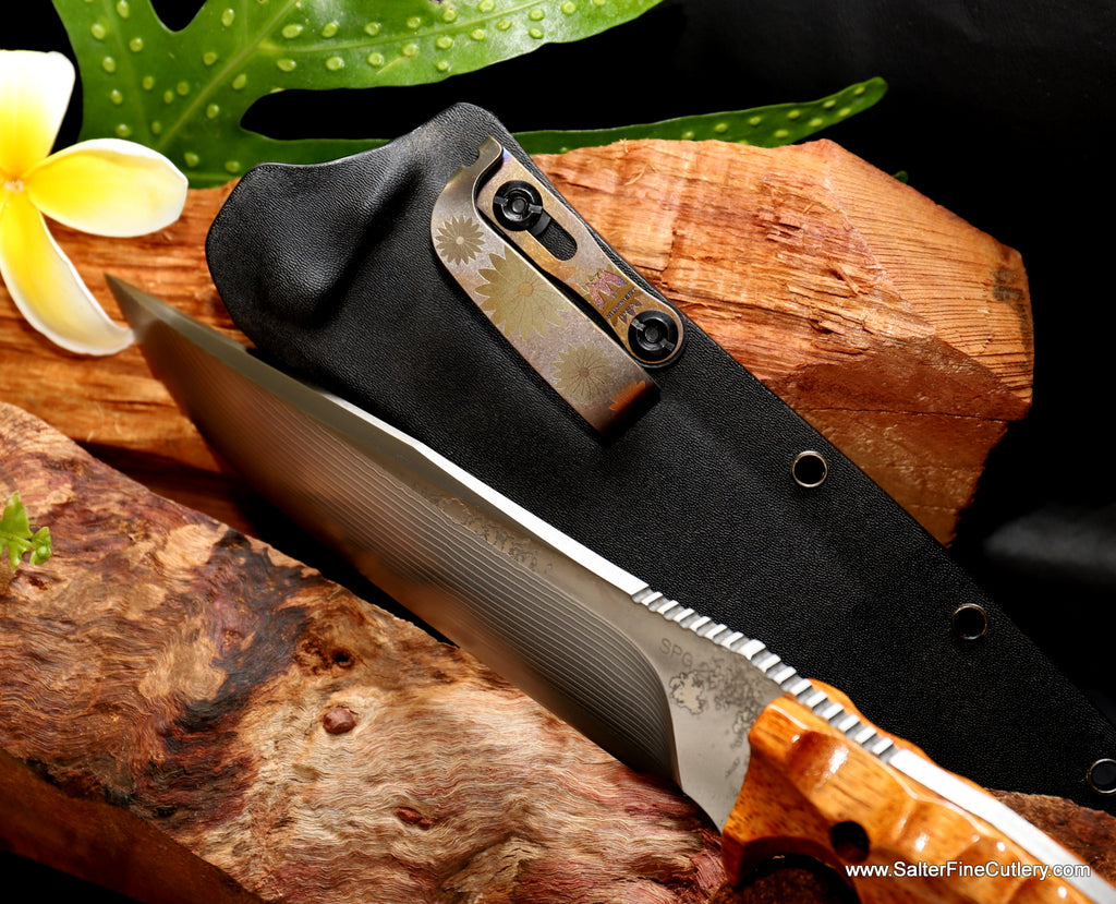 185mm hunting knife Salter-Kiku Collaboration knives by Salter Fine Cutlery of Hawaii