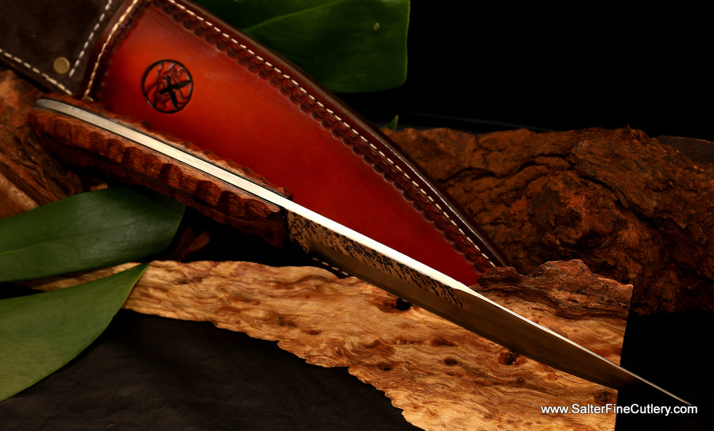 Spine view custom handmade hunting knife from Salter Fine Cutlery of Hawaii