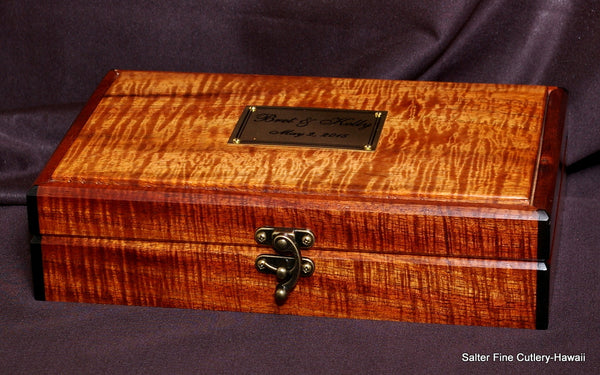 Custom handcrafted keepsake box Hawaiian koa wood