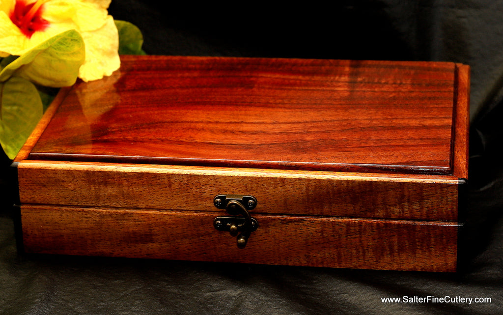 Keepsake box to hold 8-piece steak knife set solid curly Hawaiian exotic koa wood handcrafted by Salter Fine Cutlery