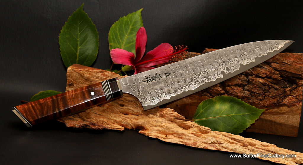Luxury collectible chef knife with 8-inch blade and artist-series handle by Gregg Salter of Salter Fine Cutlery of Hawaii