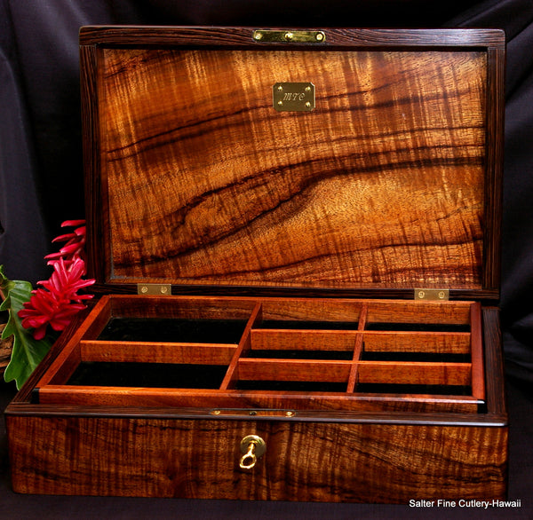 Men's deluxe jewelry box handcrafted Hawaiian curly koa wood by Salter Fine Cutlery