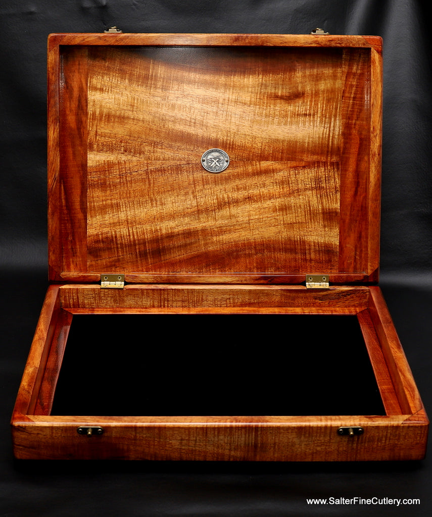 Presentation box for combination steak and carving set with tray removed meaning box can be used for other purposes during its lifetime handcrafted by Salter Fine Cutlery