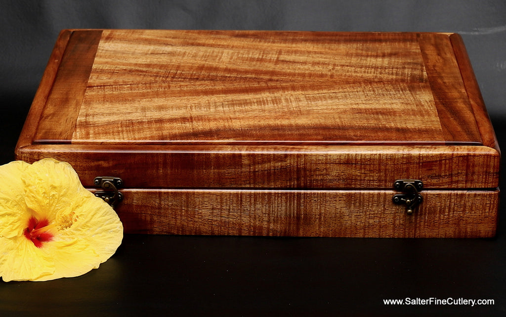 Presentation box to hold large carving and personal steak knife set for beautiful display in any dining or living room by Salter Fine Cutlery of Hawaii