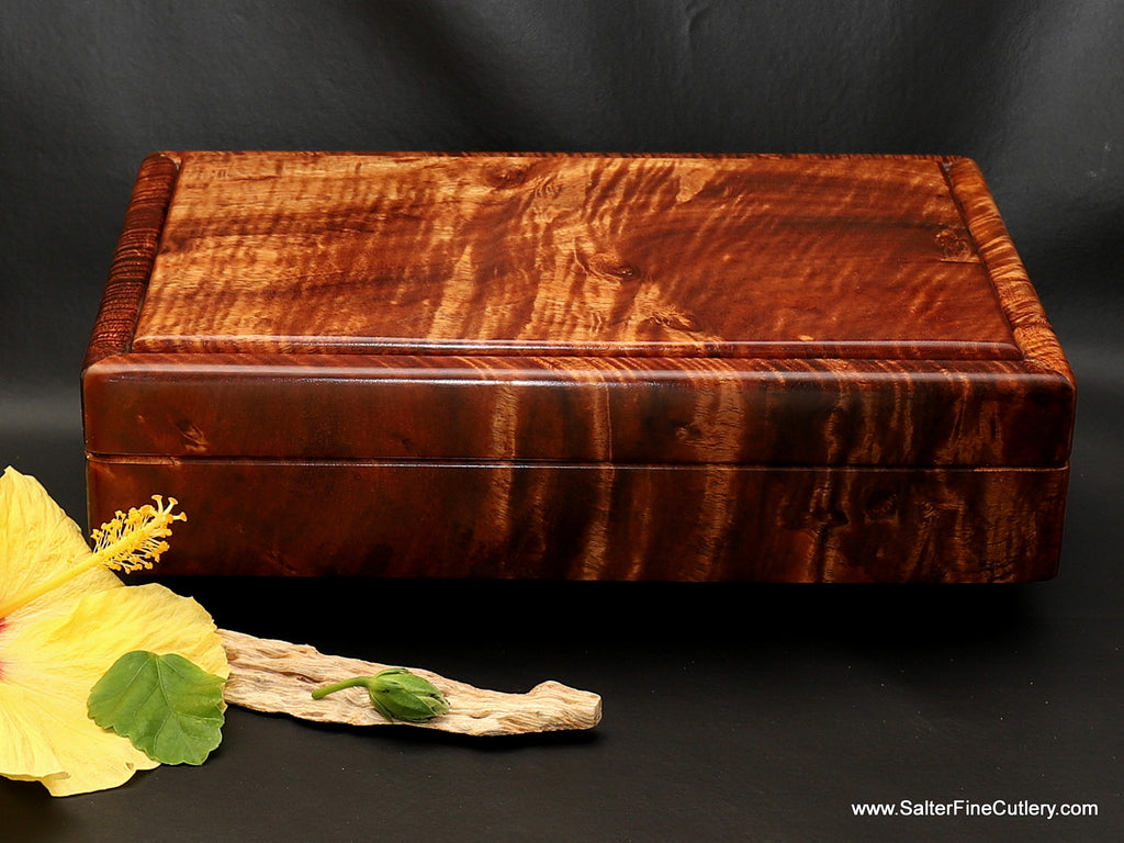 Presentation box of exotic and beautiful Hawaiian upgrade premium quality curly koa wood handcrafted by Salter Fine Cutlery
