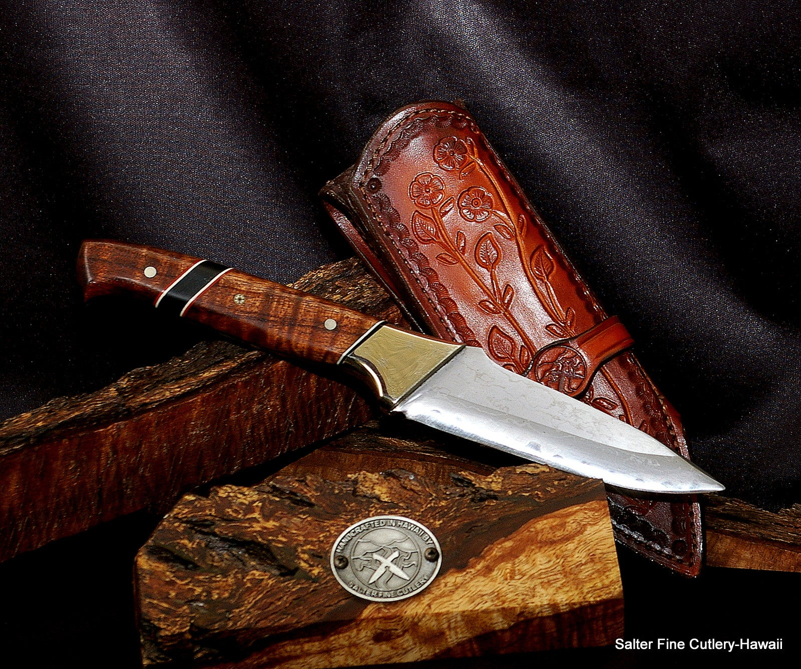 Hand forged Aogami core carbon steel hunting knife with decorative handcrafted handle and upgrade pigskin lined handcrafted sheath by Salter Fine Cutlery