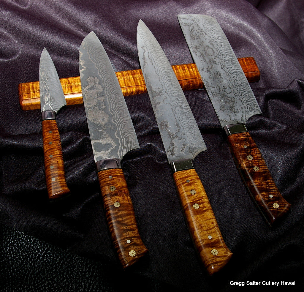 Custom order chef knife set with blades by Saji Handles and wall rack by Salter Fine Cutlery