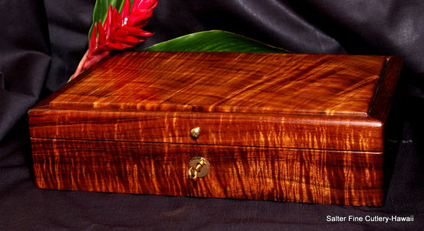Custom made-to-order ladies jewelry box by Salter Fine Cutlery