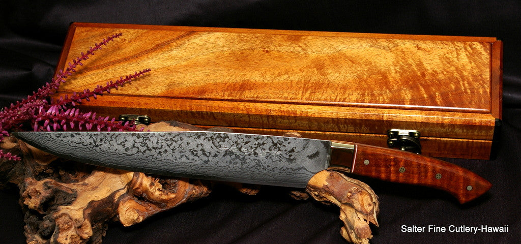 Hand forged damascus stainless steel carving knife with keepsake box by Salter Fine Cutlery