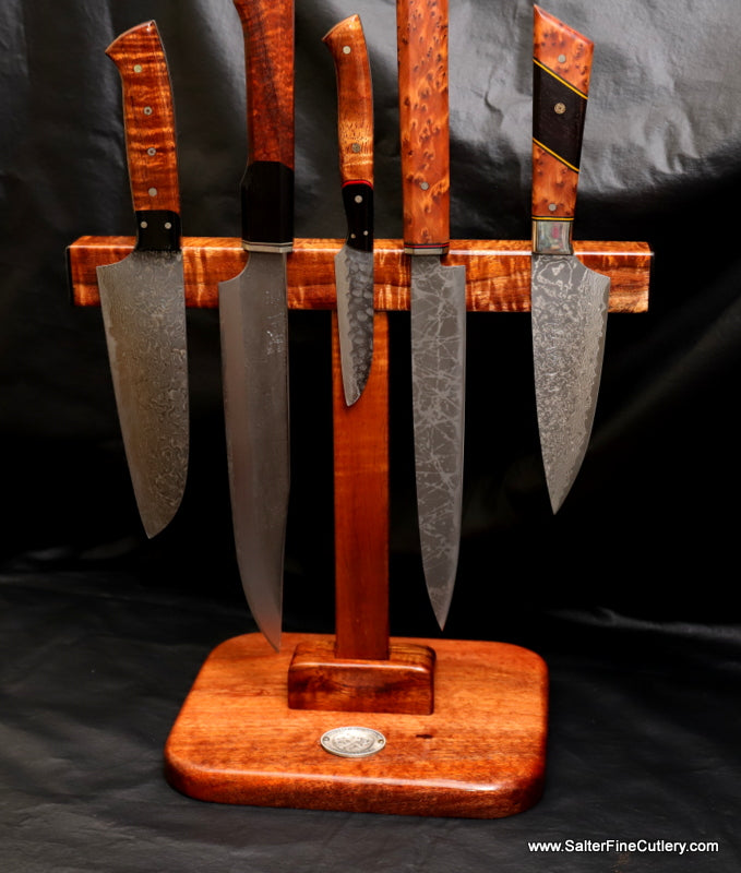 Double-sided magnetic T-stand to hold up to 9 knives custom made by Salter Fine Cutlery