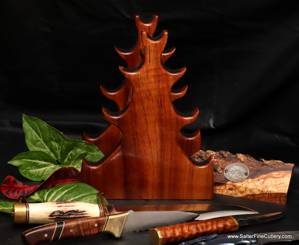 Original design pagoda stand from Salter Fine Cutlery creator of custom knife storage systems and display stands