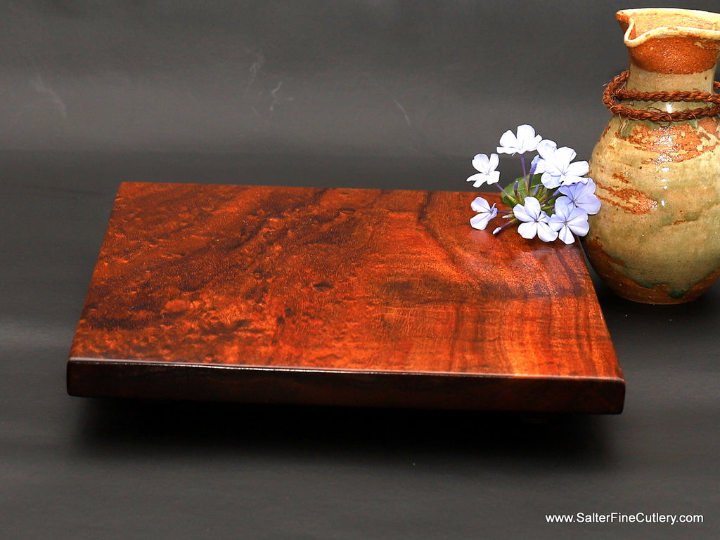 Table centerpiece of solid curly koa wood with floating top 9 x 9 inches outside diameter handcrafted in Hawaii by Salter Fine Cutlery