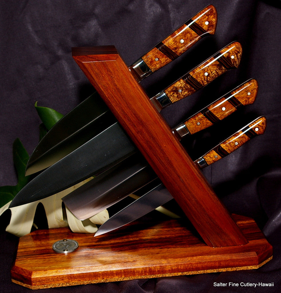 4-piece handcrafted Japanese chef knife set in tower stand by Salter Fine Cutlery