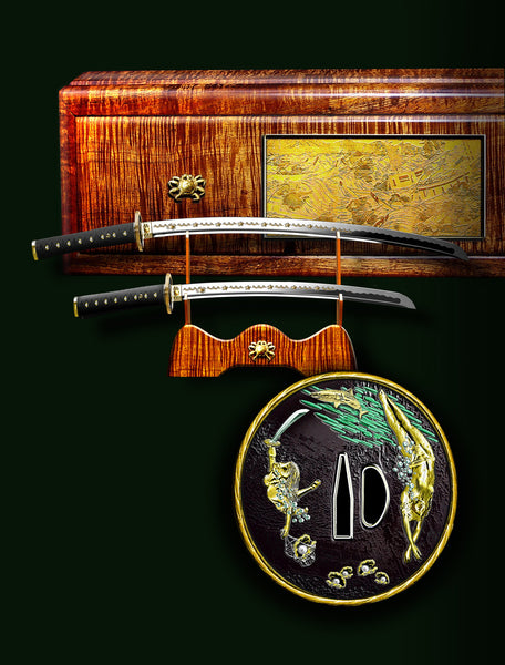 Drawing of concept sword and box for Robb Report Ultimate Gift Guide