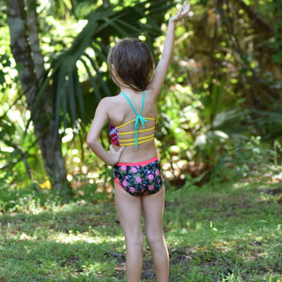Customizable and reversible swim bottoms for girls, made with eco-friendly material.