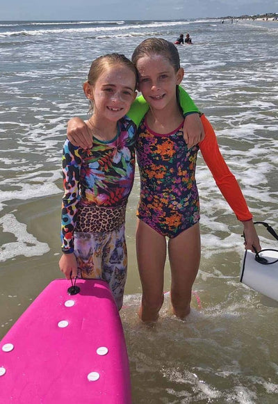 One-piece rashguard girls swimwear