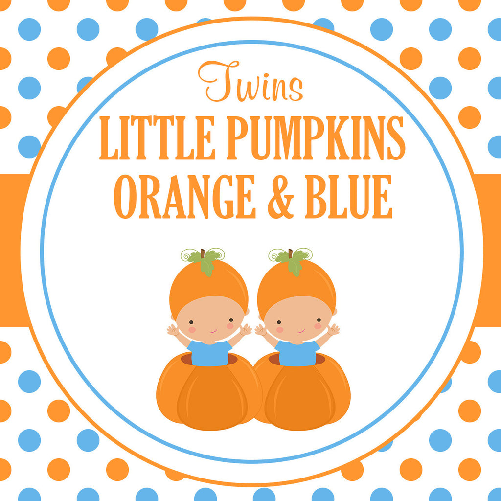 B21004 Blue & Orange Twins Little Pumpkin Theme