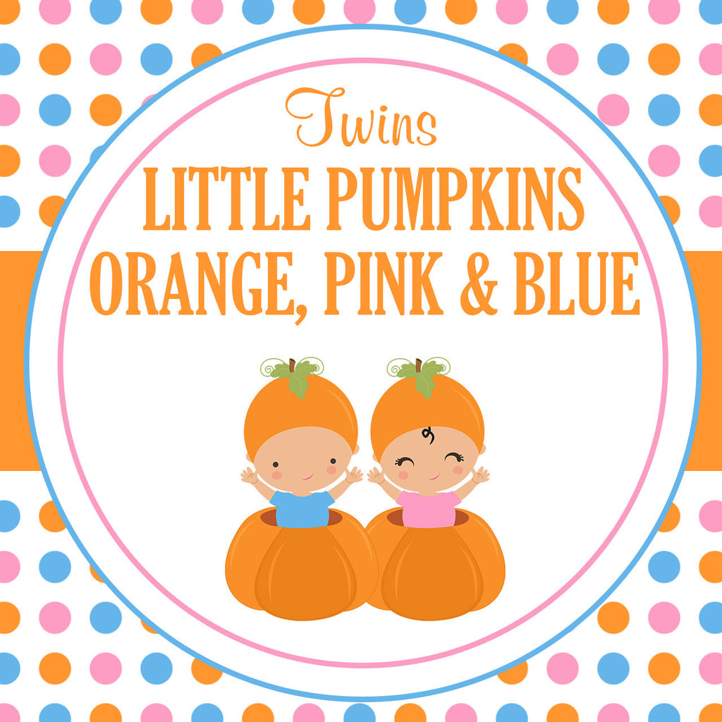 B21006 Orange, Pink & Blue Twins Little Pumpkin Theme