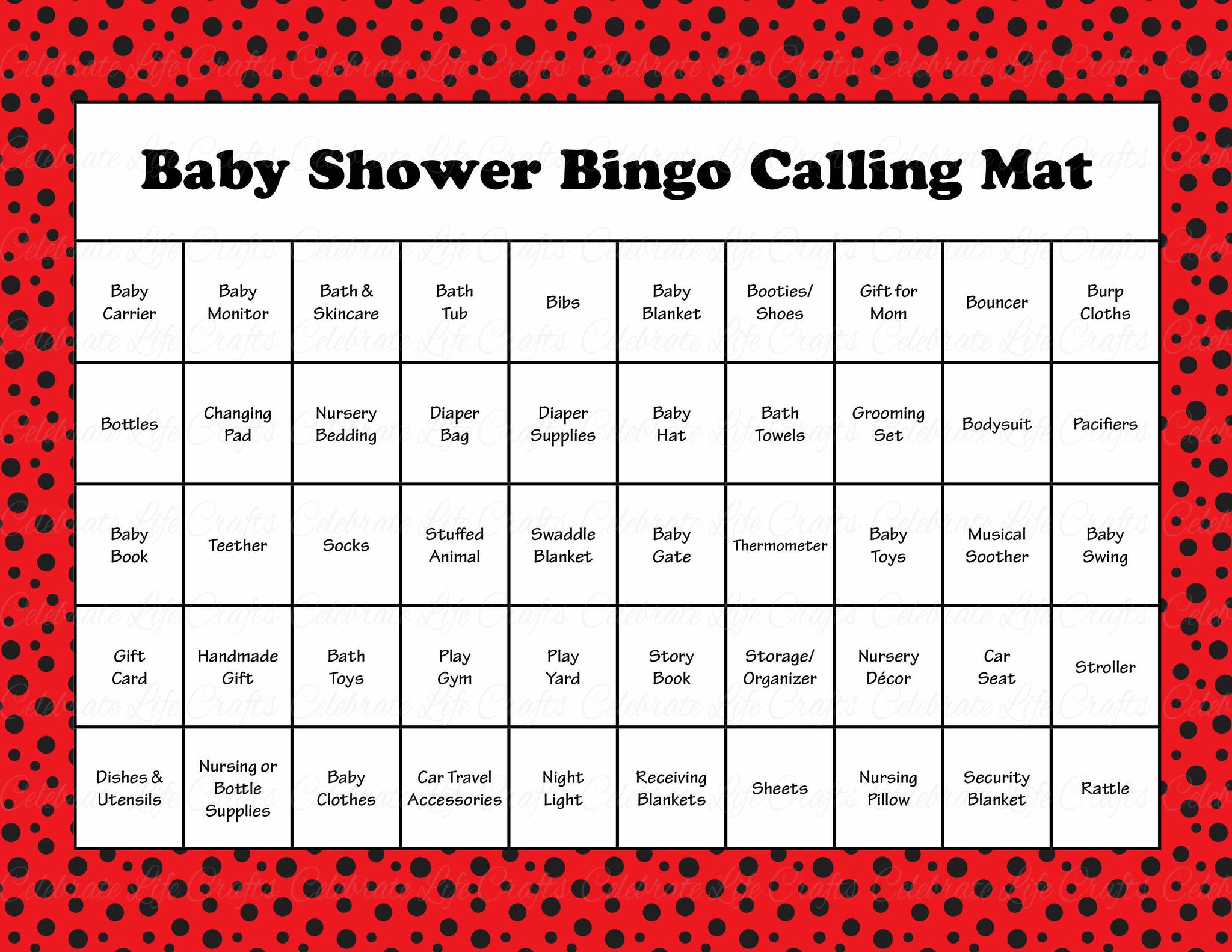 image relating to Printable Bingo Calling Cards named Ladybug Child Shower Activity Down load for Lady Youngster Bingo