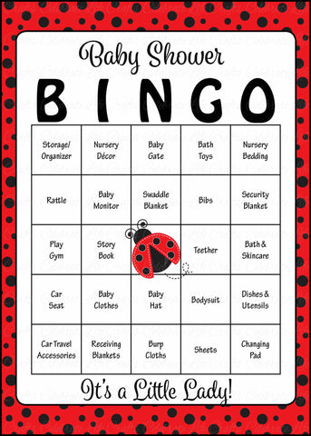 Ladybug Baby Bingo Cards - Printable Download - Prefilled - Baby Shower Game for Girl - Red Black Polka Dots - B10002