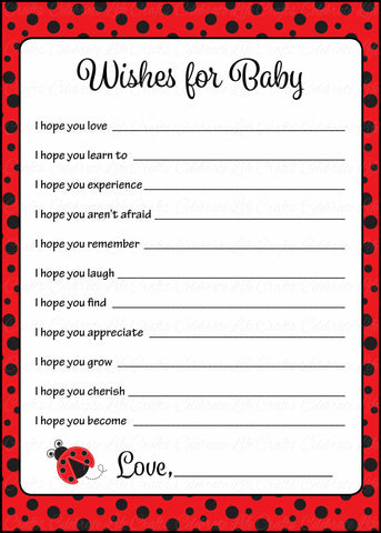 Wishes for Baby Cards - Printable Download - Red Black Ladybug Baby Shower Activity - B10002