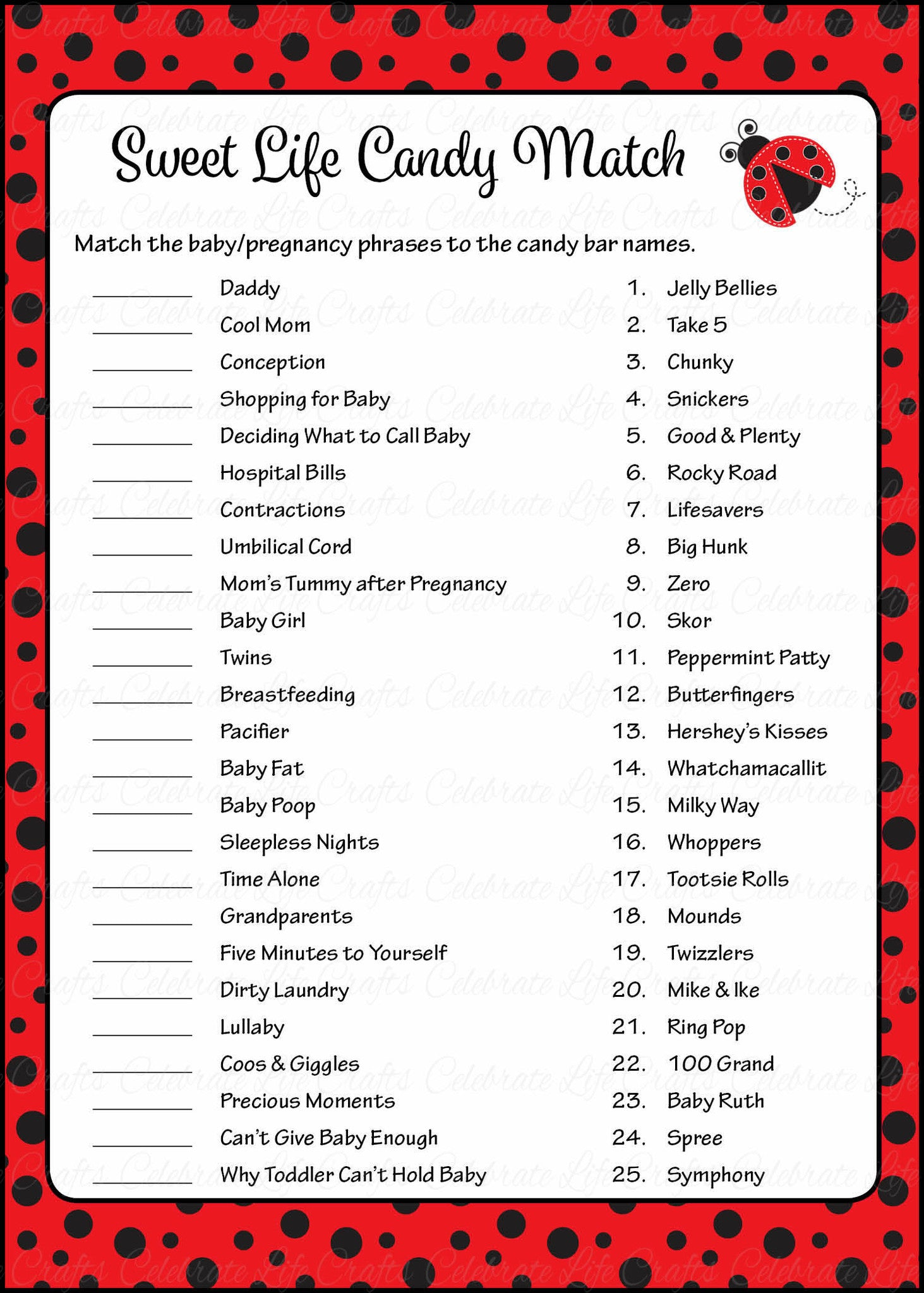 Sweet Life Candy Match Game   Printable Download   Red Black Ladybug Baby  Shower Game   B10002.