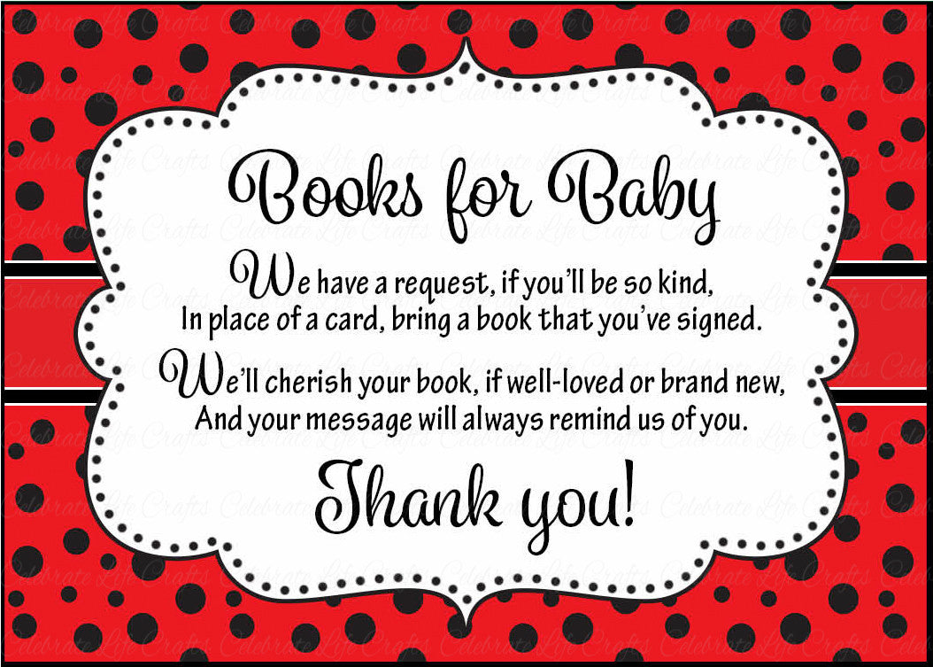 Books For Baby Cards   Printable Download   Red Black Ladybug Baby Shower  Invitation Inserts   B10002.