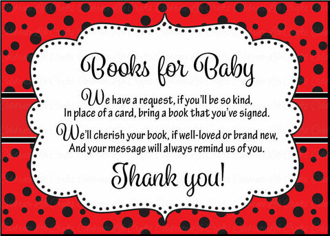 Books for Baby Cards - Printable Download - Red Black Ladybug Baby Shower Invitation Inserts - B10002