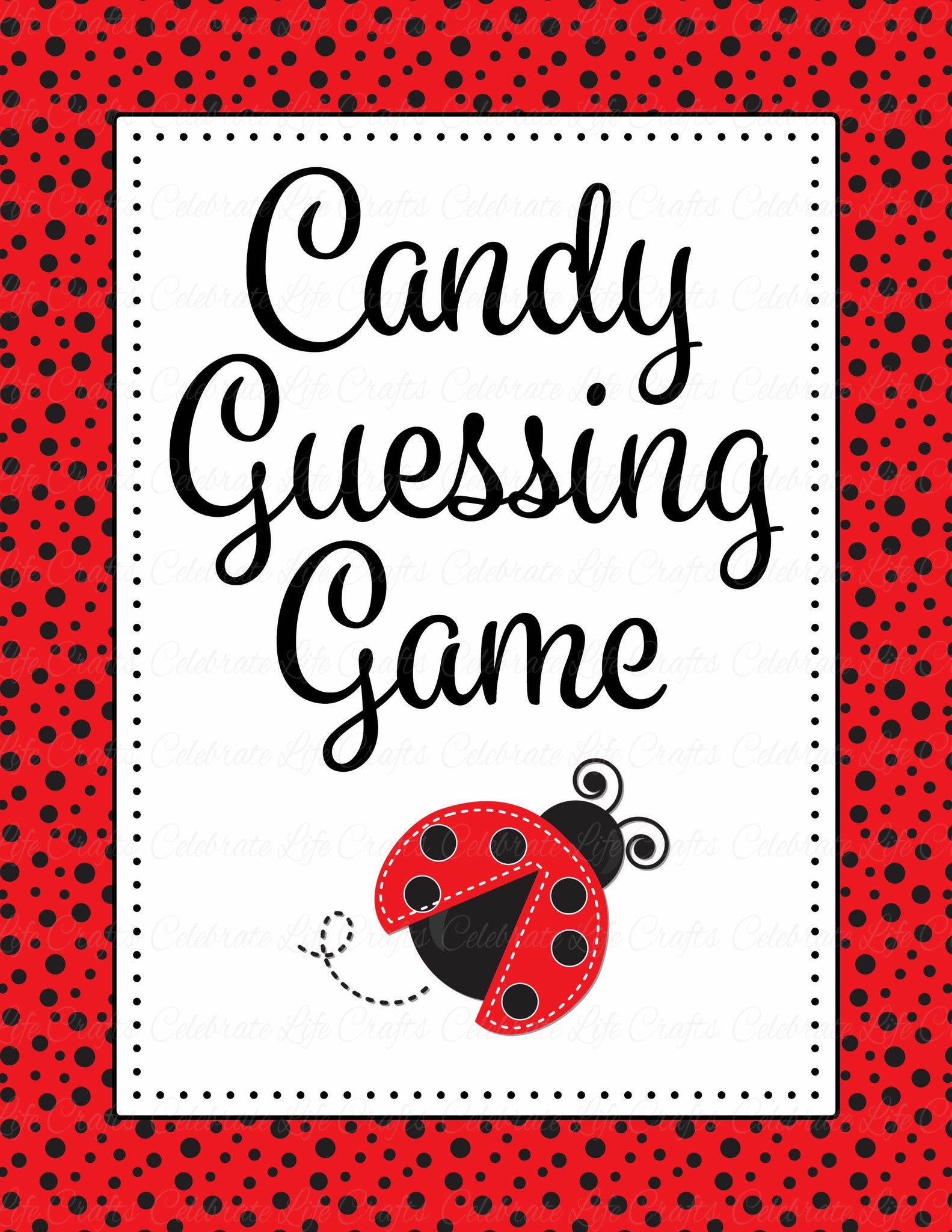 Candy Guessing Game   Printable Download   Red Black Ladybug Baby Shower  Game   B10002.