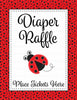Diaper Raffle Tickets - Printable Download - Red Black Ladybug Baby Shower Invitation Inserts - B10002
