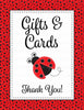 Baby Shower Gift List Set - Printable Download - Red Black Ladybug Baby Shower Decorations - B10002