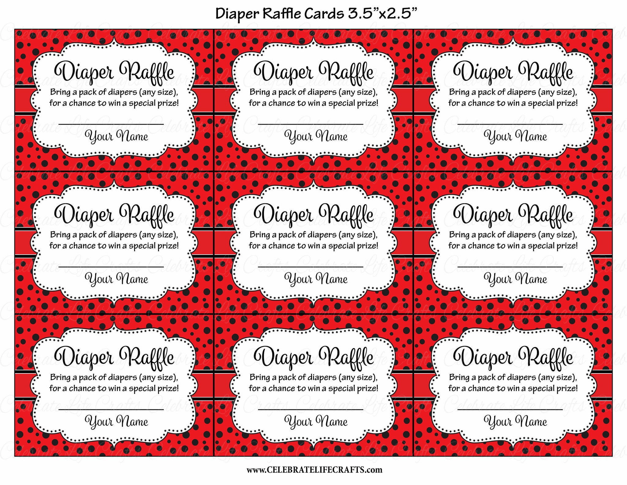 Diaper Raffle Tickets for Baby Shower - Ladybug Baby Shower Theme ...
