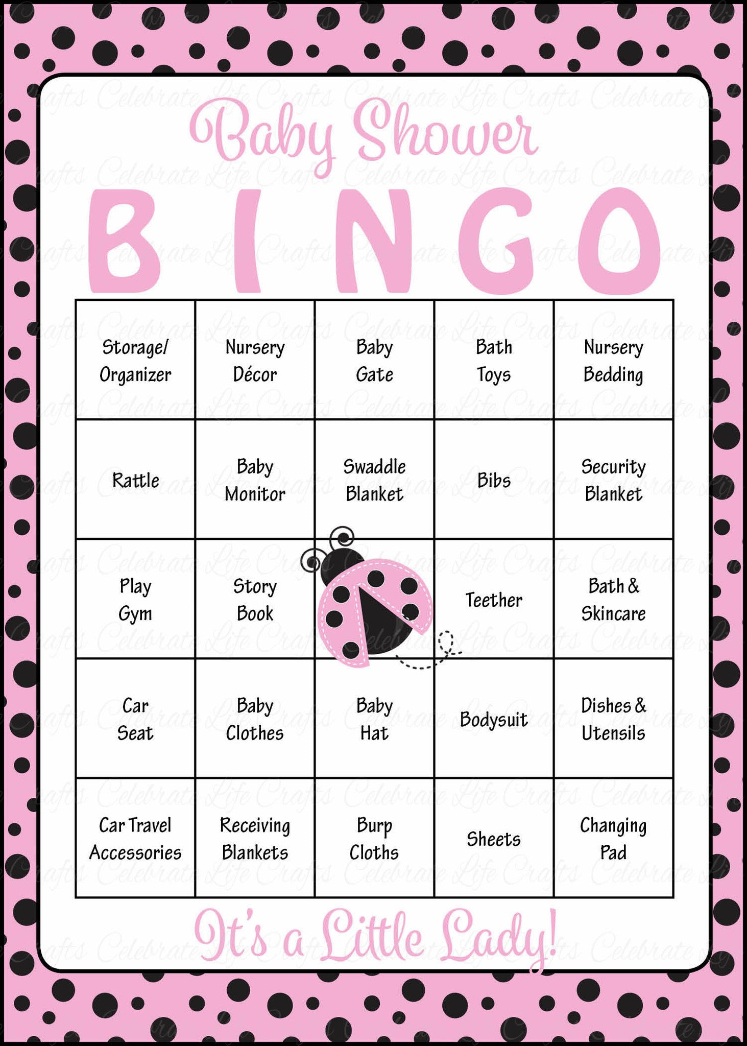 ladybug baby shower game download for girl baby bingo