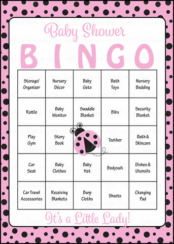Ladybug Baby Bingo Cards - Printable Download - Prefilled - Baby Shower Game for Girl - Pink Black Polka Dots - B10003