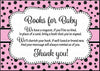 Books for Baby Cards - Printable Download - Pink Black Ladybug Baby Shower Invitation Inserts - B10003